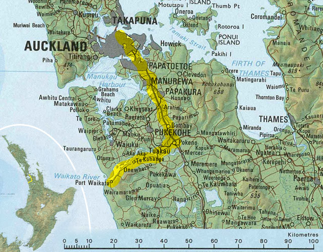 Carte Auckland - Port Waikato
